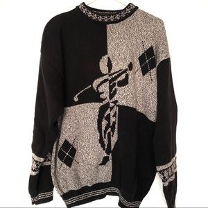 Vintage Chunky Grandpa Mockneck Golf Sweater XL